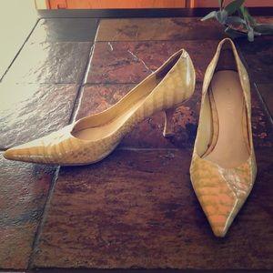 Nine West pleather snakeskin heels (sz 6)